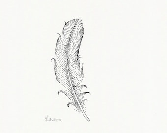 Original ink feather drawing ~ Romantic black feather