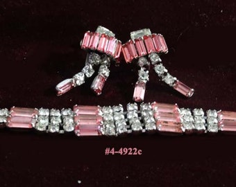 FREE SHIP  PARCO Pink Baguettes Clear Rhinestones Bracelet/Earrings (4-4922)