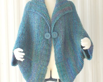 Hand Knit Handmade Cape Bolero Jacket Sweater Lightblue, Medium Blue, Teal, Light Green Boucle Outerwear