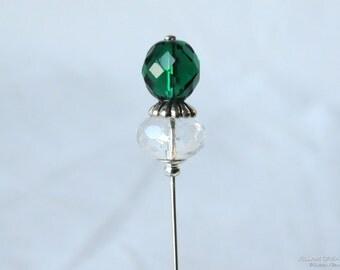 Emerald Green Stick Pin, 3 Inch Hat Pin, Scarf Pin, Hijab Pin H0338