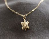 turtle necklace, tiny gold necklace, delicate gold necklace, dainty necklace, small turtle, pendant necklace animal necklace, N22