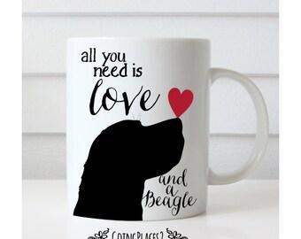 Beagle Mug, Beagle Gifts, Beagle Art, Beagle Artwork, Beagle Silhouette, Dog Mug, Dog Lover Gift, Dog Gifts, Dog Rescue