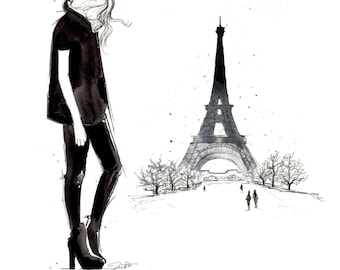 Paris in the Winter No. 2, print from original watercolor and mixed media fashion illustration