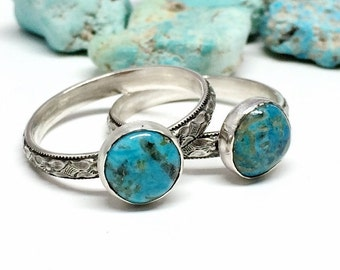 Arizona Turquoise Ring Blue Gemstone Ring Sterling Silver Stacking Ring Diamond Floral Band Custom Sized