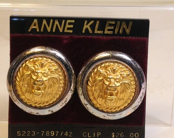 FABULOUS 80's Anne KLEIN Designer LION Goldtone/Yellow Brass/Goldtone and Silvertone Clip-on Earrings