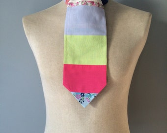 Unusual Handmade Patchwork Gentleman's Cravat made from bold and colourful vintage fabrics
