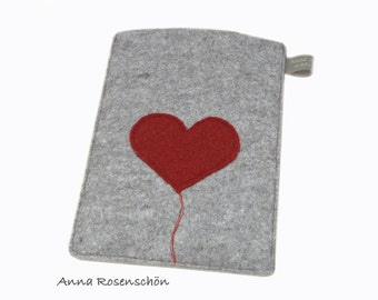 iPad case kindle paperwhite case gray felt red heart