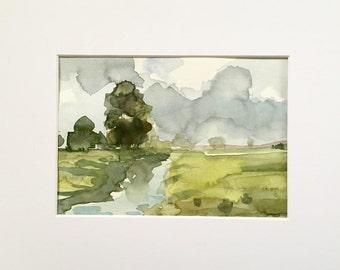 Farm Canal • original watercolor painting