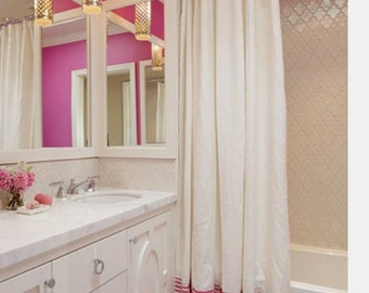 """Two tone white cotton shower curtain or matching valance 72"""", 84"""", 90"""", 96"""", 108"""" custom sizes available"""