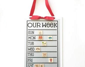 Weekly  Chore Chart + 12 Magnets   - 9 x 13 magnetic weekly schedule board
