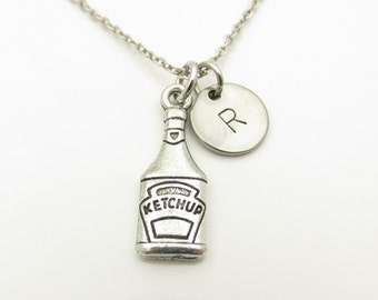 Ketchup Bottle Necklace, Ketchup Necklace, Condiment Necklace, Food Charm, Silver Ketchup, Diner Necklace, Personalized, Monogram Y327