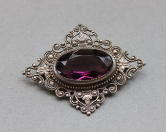 Edwardian Amethyst Paste Filigree Brooch