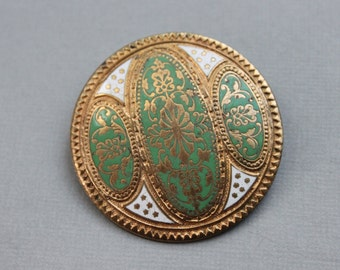 Antique French Art Nouveau Champleve Enamel Convertible Dress or Scarf Clip and Brooch / Brevete SGDG