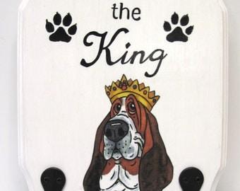 "Decopague Print from Original Art by Renee Bane - Basset Hound Sign/Accessory Holder  - ""I am the King!"""