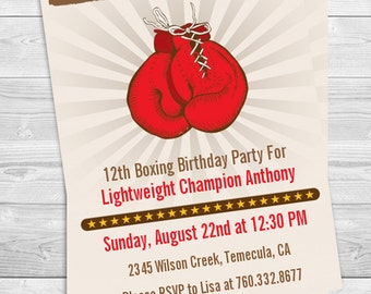 Boxing Gloves - Printable Birthday Party Invitation