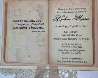 Classic Winnie the Pooh Invitation Card...Personalized Antique Book Party Invite Baby Shower Vintage Inspired Book