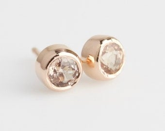 Dainty Natural Peach Garnets 14k Rose Gold Stud Earrings - Solid Gold Post Pair with Rough Cut Bezels - Genuine Malaya Garnets in Warm Pink