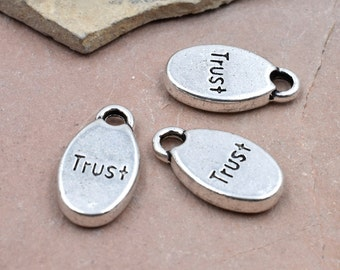 Word Charms, Trust, 12pcs, 13x9mm, Silver   Charm, Jewelry Charms, Findings -C337