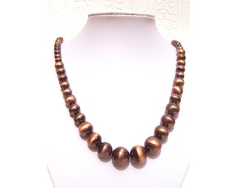 Vintage Burnished Round Copper Graduated Bead Strand Necklace 24 3/4""