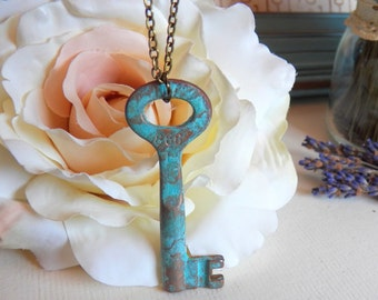 Vintage Skeleton Key Pendant Necklace, Antiqued Brass Chain, Turquoise Blue Patina Key Jewelry, Handmade Jewelry Gifts by HoneyNest