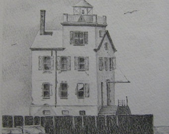 Lighthouse Lorain Ohio Lake Erie water nautical seascape graphite pencil drawing black white boats fishing one hundred yr old artist Melanie