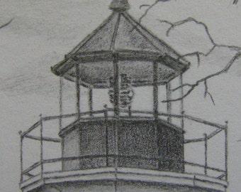 Lighthouse nautical seascape graphite pencil drawing Vermilion Ohio Lake Erie boating fishing m3 DrawingsPlus
