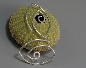 Gauged Silver Swirl Earrings Sterling Spiral Leaf Eye 16g 14g Gauge Gold