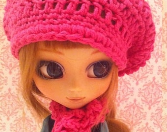 Raspberry Beret- Slouchy Beanie Crochet Hat & Scarf Set for Pullip