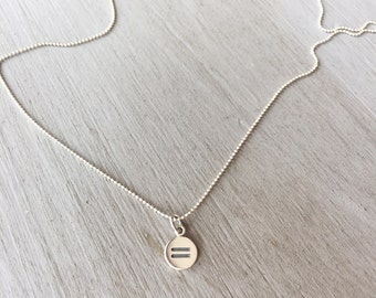 Tiny Sterling Silver Equality Necklace   Silver Equal Sign