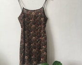 Vintage 1990s Brown Sheer Mini Slip Dress