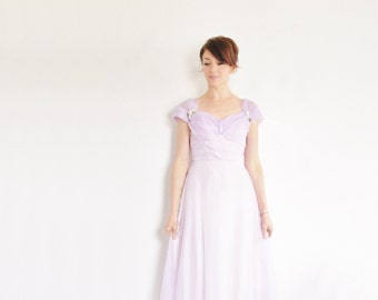 dreamy violet bridesmaid gown . sheer pastel lilac sweetheart maxi dress .small