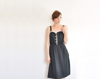 black white sweetheart dress . two tone monochrome summer frock .extra small.small.xs .sale