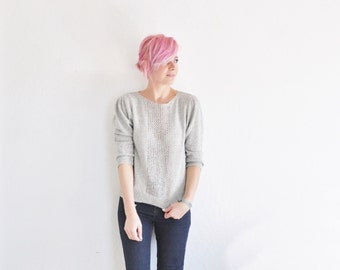 pale gray pointelle sweater . delicate knit pullover blouse .small.medium