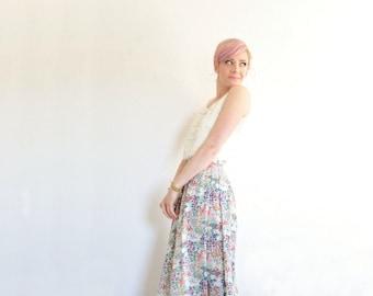floral meadow linen skirt . high waist boho flower print .small .sale