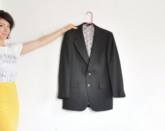 Jack Nicklaus golf blazer . handsome black twill jacket . forged metal buttons .mens medium.large 40 42 .sale s a l e