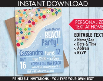 Beach Birthday Party Invitation - Beach Bash, Summer Party, Luau, Beach Party - Editable Text - INSTANT Download PDF Printable Kit