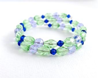 Lilac Purple Sapphire Blue Peridot Green Glass Memory Double Wrap Bangle Bracelet - Memory Wire Bracelet - Bangle Bracelet - B-57