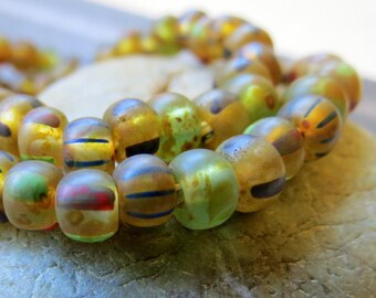 NEW STRIPED MIX .  Czech Picasso Seed Beads . size 2/0  ( 20+ beads)