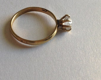 Clear Rhinestone Solitaire Ring Size 6