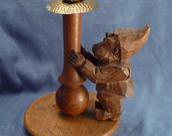 Carved Gnome Candleholder FIF Germany Wooden Gnome