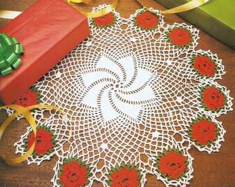 Crochet Rose Centerpiece Doily Vintage Pattern