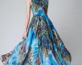 Blue floral dress, Blue Chiffon dress ,prom dress ,maxi dress ,ruffled dress,Bohemian style Dress (1522)