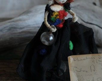 drunken Ardel chenille figurine with a card from all her friends, 1942, chenille doll, redheaded rebel