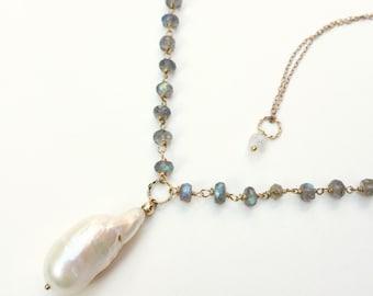 Pearl Labradorite Gold Necklace / Doris Necklace