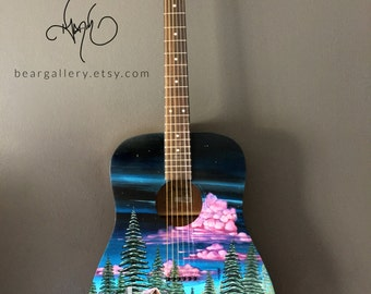 Custom Hand Painted Acoustic Guitar - Forest Log Cabin Scenery