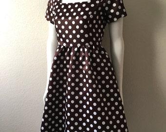 Vintage Women's 90's Polka Dot, Dress, Brown, White, Knee Length (S)