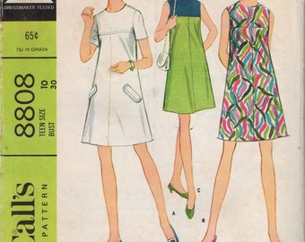 "McCall's 8808 ""Teen ""Easy to Sew"" Dress in Three Versions"" Teen Size 10 Bust 30"""