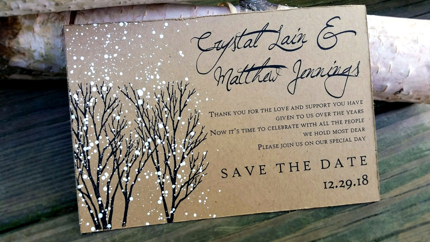 Wedding Save The Date Postcards: Save The Date Postcards Winter Wedding Save The Dates Winter