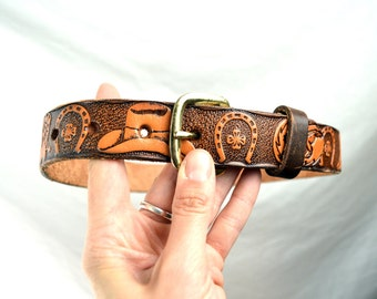 Vintage Western Tooled Leather Belt - Size 26 by Brushy Creek
