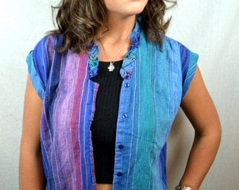 Vintage 80s Rainbow Caribou Button Up Shirt Blouse
